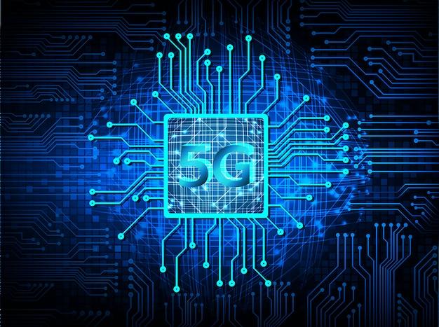 Fundo azul do conceito da tecnologia futura do circuito cibernético da cpu 5g