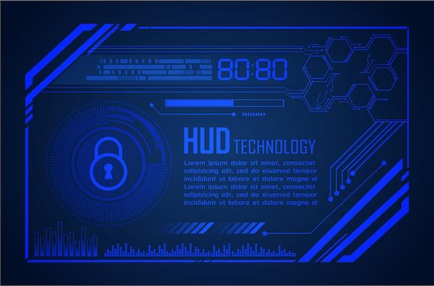 Fundo azul do conceito da tecnologia futura do circuito do cyber de hud