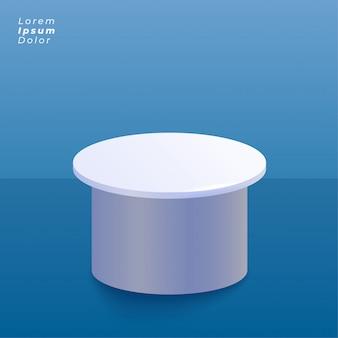 Fundo azul do estúdio com a plataforma do carrinho de exposição do produto