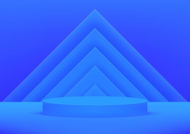 Fundo azul do estúdio vazio do pódio para a exposição do produto com copyspace.