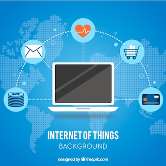 Fundo azul do laptop conectado à internet