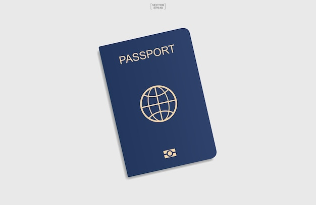 Fundo azul do passaporte sobre fundo branco. ilustração vetorial.