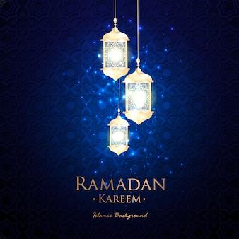 Fundo azul do ramadan islâmico com lanterna de ornamento branco