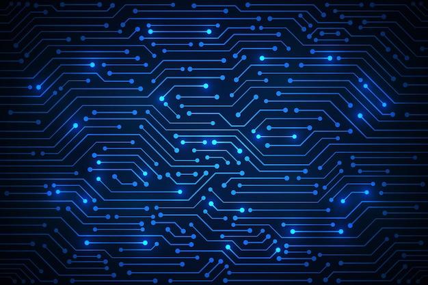 Fundo azul do teste padrão da placa de circuito da tecnologia abstrata