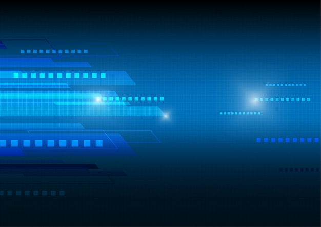 Fundo azul do vetor da tecnologia virtual.
