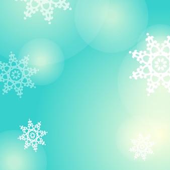 Fundo azul do vetor do inverno com flocos de neve e luzes