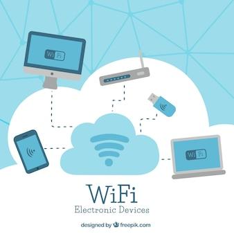 Fundo azul e branco com sinal wifi e dispositivos eletrônicos