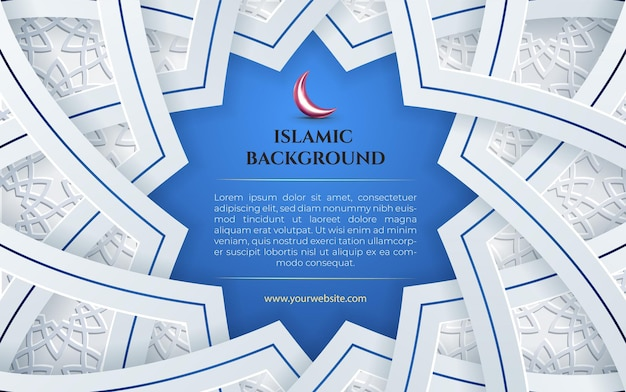 Fundo azul e branco islâmico com latern para eid mubarak e postagem de modelo de banner do ramadã