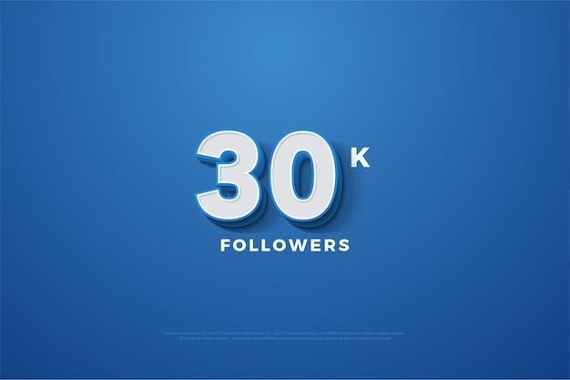 Fundo azul e branco para trinta mil seguidores Vetor Premium