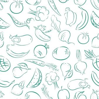 Fundo azul e branco sem costura fofo com frutas e vegetais estilizados