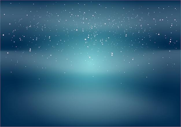 Fundo azul e preto com estrelas e pontos brancos.