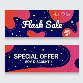 Fundo azul e rosa banner resumo flash venda