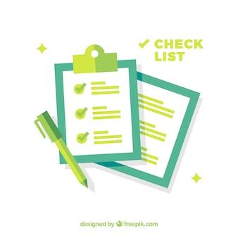 Fundo azul e verde com lista de verificação