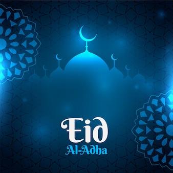 Fundo azul eid al adha brilhante com formato de mesquita