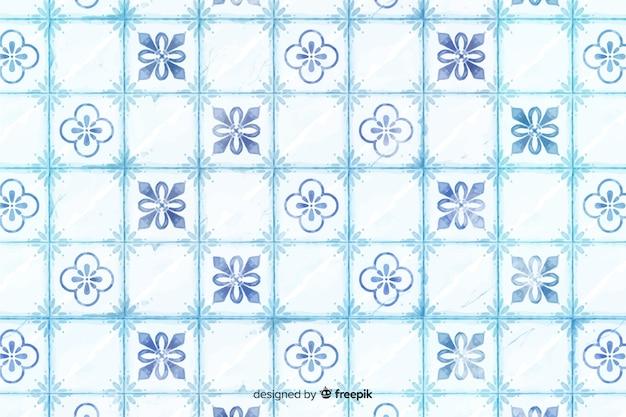 Fundo azul elegante mosaico aquarela