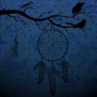 Fundo azul escuro com apanhador de sonhos e aves