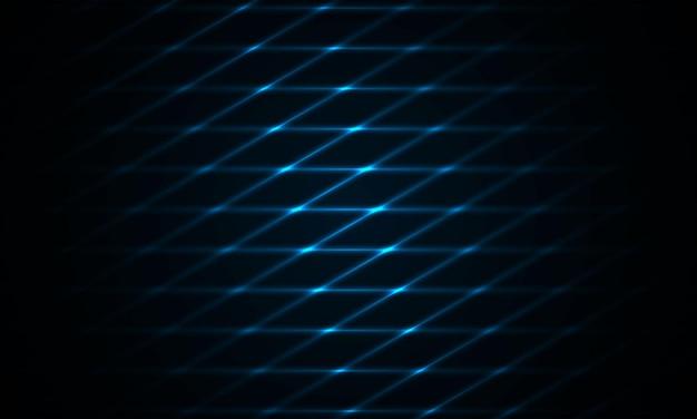 Fundo azul escuro com bandeira de tecnologia moderna escura futurista de grade de cor néon azul marinho.