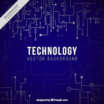 Fundo azul escuro com conexões tecnológicas