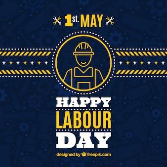 Fundo azul escuro com detalhes amarelos para o dia do trabalhador