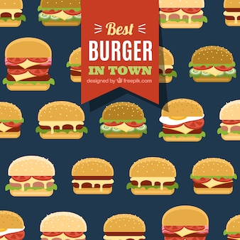 Fundo azul escuro com diferentes tipos de hambúrgueres