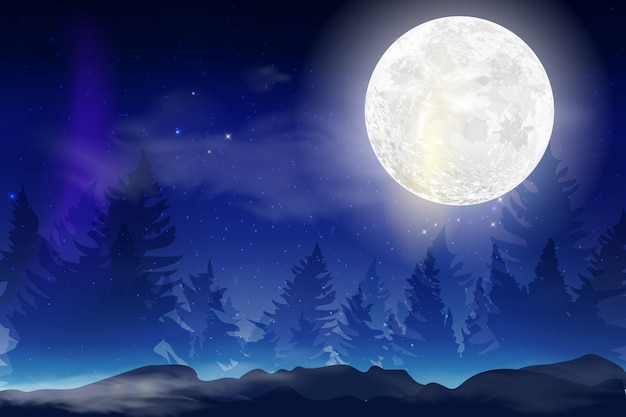 Fundo azul escuro da noite com o mês inteiro, nuvens e estrelas. noite de luar. ilustração. fundo do espaço milkyway