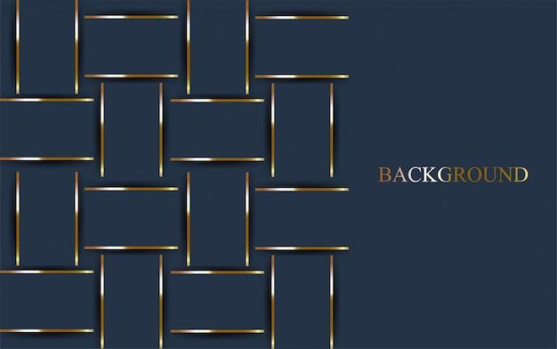 Fundo azul escuro de luxo com linha de ouro.