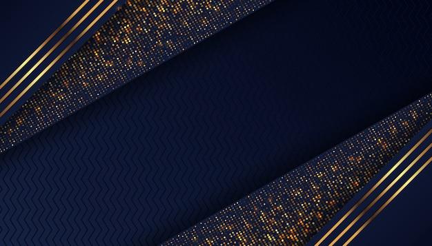 Fundo azul escuro de luxo com pontos dourados brilhantes