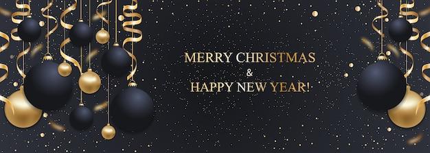 Fundo azul escuro de natal com bolas de natal e fitas douradas. decoração de feliz ano novo. banner de natal elegante.