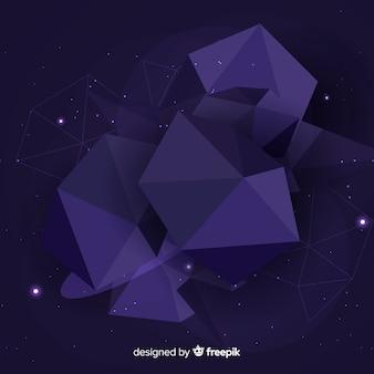 Fundo azul escuro do polígono tridimensional