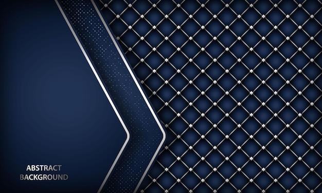 Fundo azul escuro elegante com padrão hexágono prateado