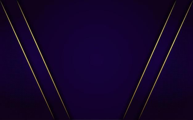 Fundo azul escuro moderno com brilho, linha ouro