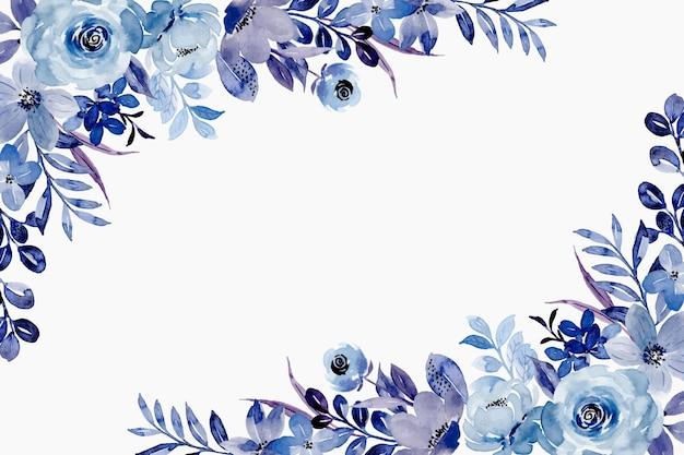 Fundo azul floral primavera com aquarela