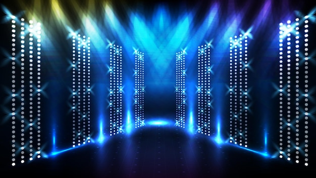 Fundo azul futurista abstrato de palco brilhante com lindo raio de luz