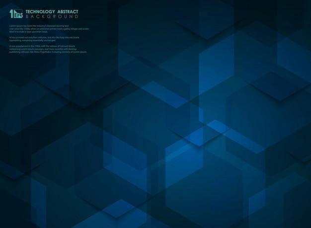 Fundo azul futurista de alta tecnologia hexagonal
