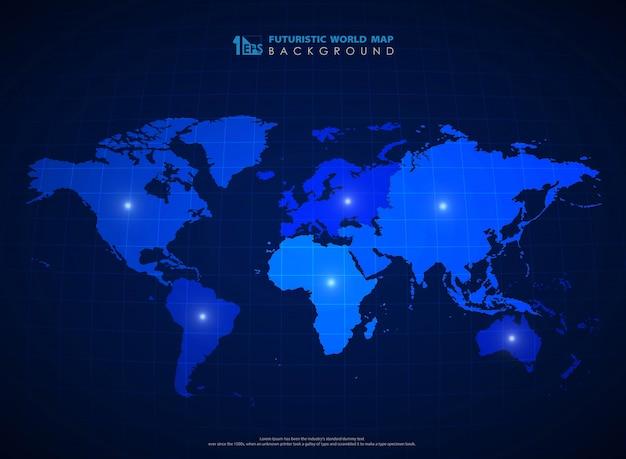 Fundo azul futurista do mapa do mundo da tecnologia.