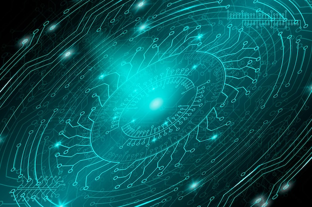 Fundo azul futurista tecnológico em estilo cyberpunk