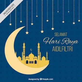 Fundo azul Hari raya com lua e estrelas