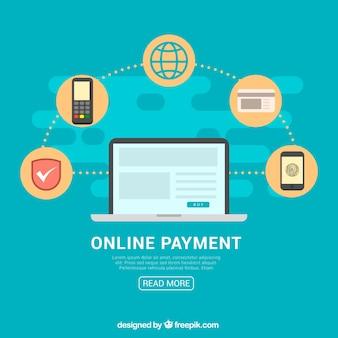 Fundo azul, ícones de pagamento on-line