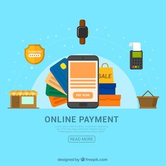 Fundo azul, itens de pagamento on-line