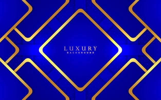 Fundo azul luxuoso com decoração dourada