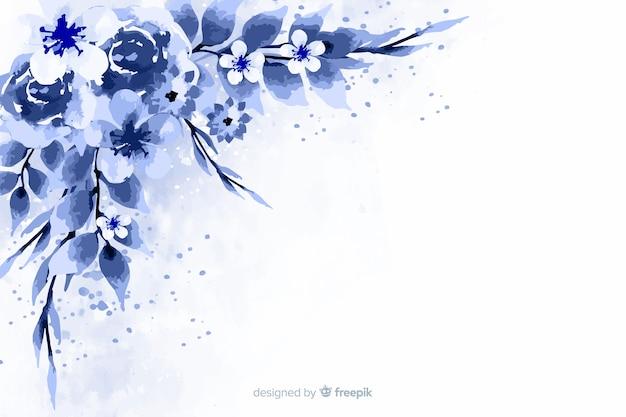 Fundo azul monocromático flores