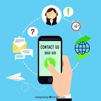 Fundo azul móvel e ícones de contacto