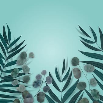 Fundo azul natural abstrato com palmeira tropical, eucalipto, folhas monstera