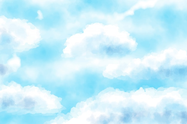 Fundo azul nublado aquarela céu azul