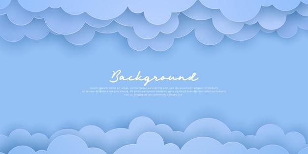 Fundo azul nuvem em um estilo de corte de papel.
