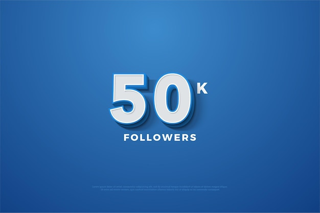 Fundo azul para cinquenta mil seguidores Vetor Premium