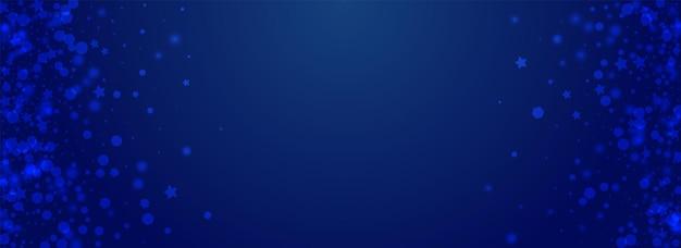 Fundo azul pnorâmico do vetor das estrelas de prata. pano de fundo de tempestade de neve mínimo branco. convite elegante queda de neve. design de pontos mágicos.