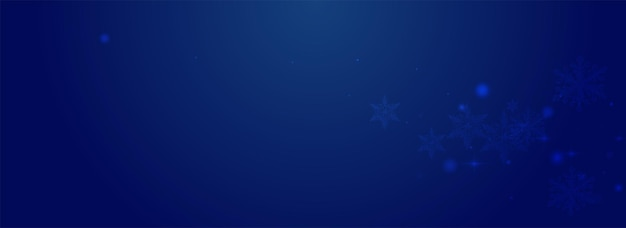 Fundo azul pnorâmico do vetor do confete brilhante. bandeira de estrelas brancas sutis. pano de fundo do floco de bokeh. papel de parede de floco de neve caindo.