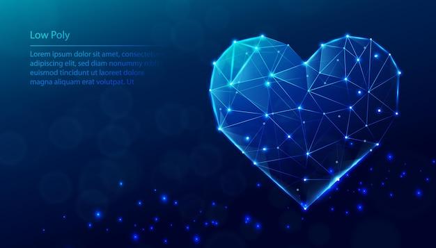 Fundo azul poli baixa tecnologia. forma de coração de baixo poli.