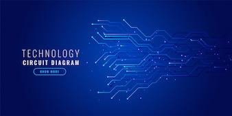 Fundo azul tecnologia com diagrama de circuito